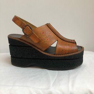 70's Vintage Boho Platform Sandals